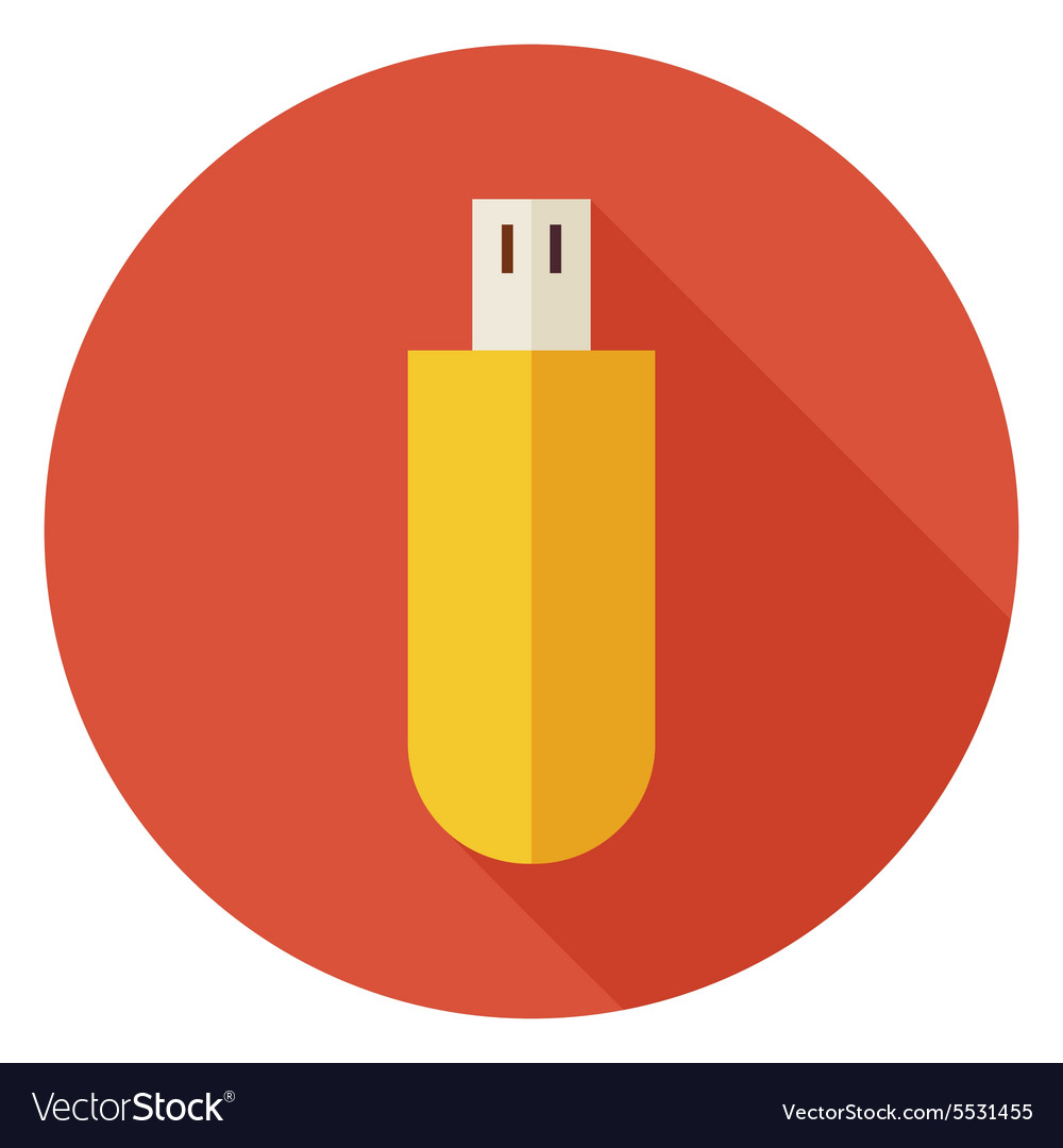 Flat Computer Technology USB Circle Icon with Long