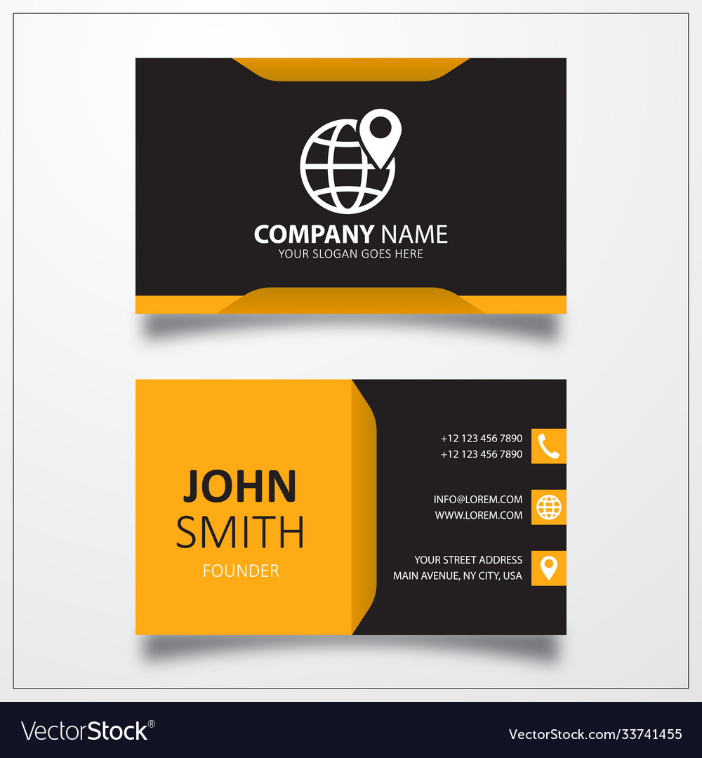 Globe with pin icon business card template