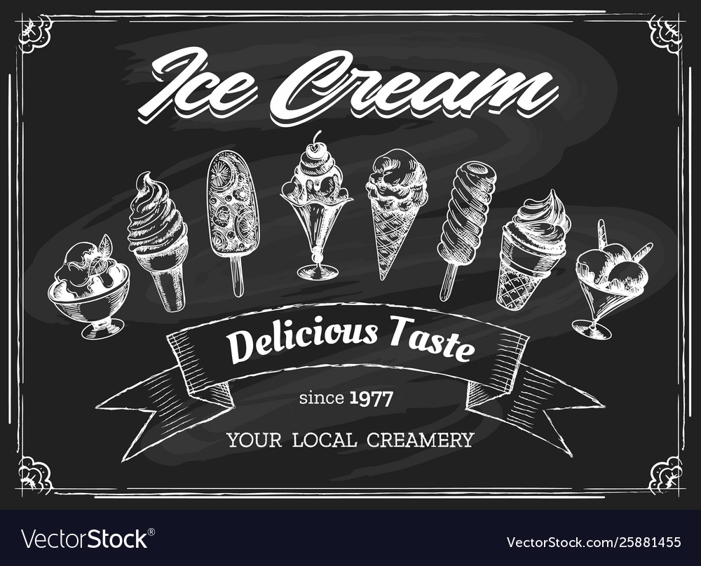Ice cream chalk board drawing