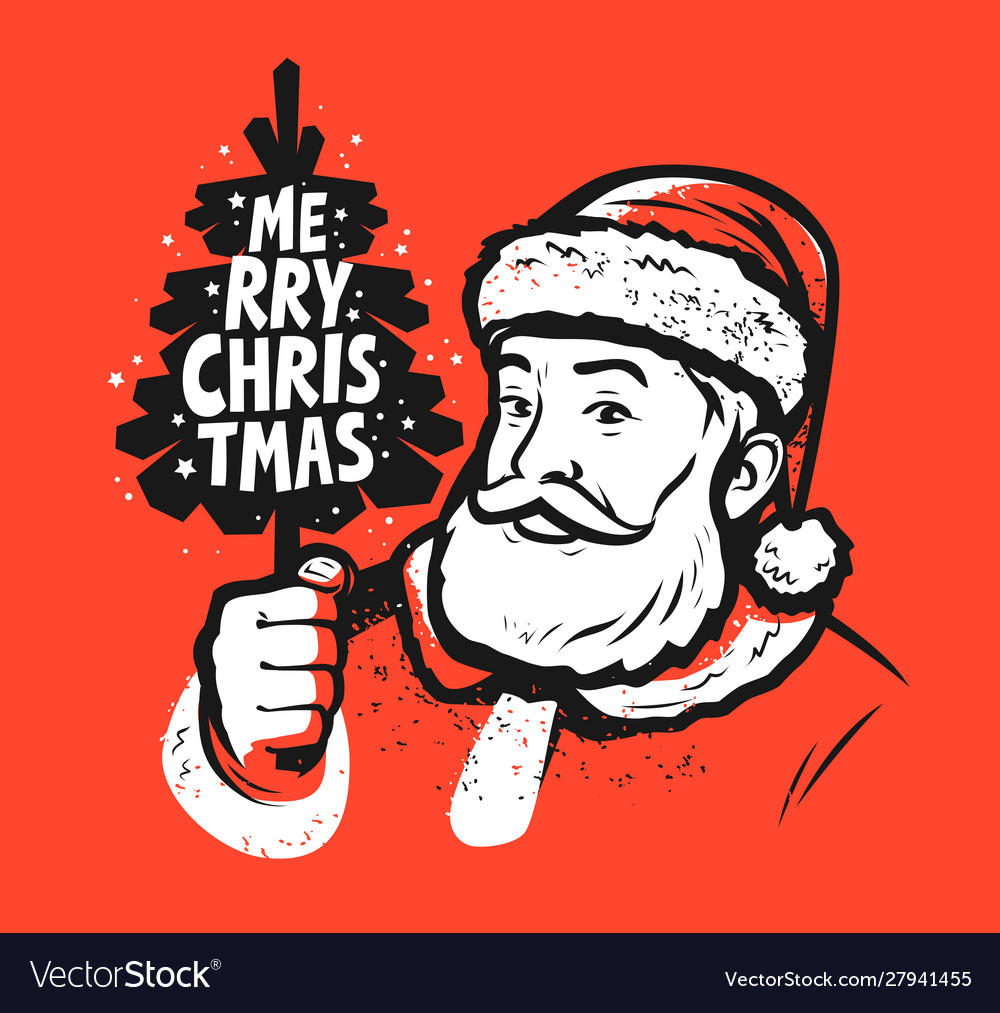 Merry christmas santa claus pop art style