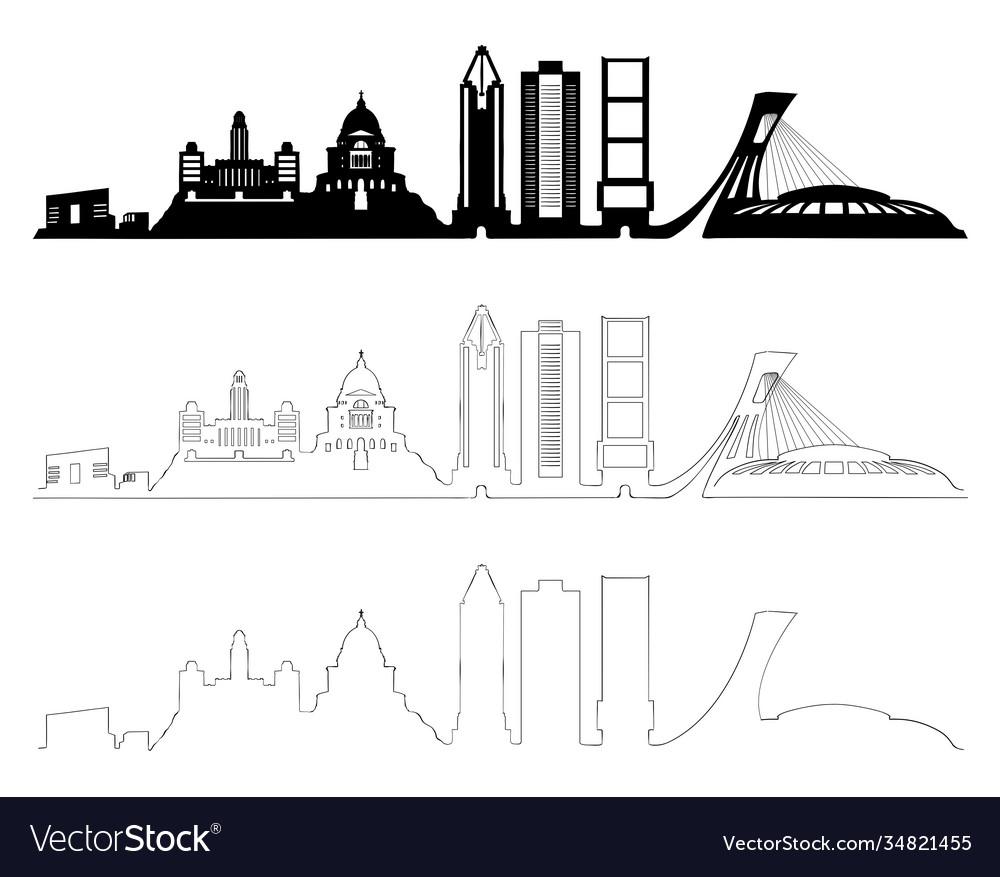 Montreal skyline set black and white