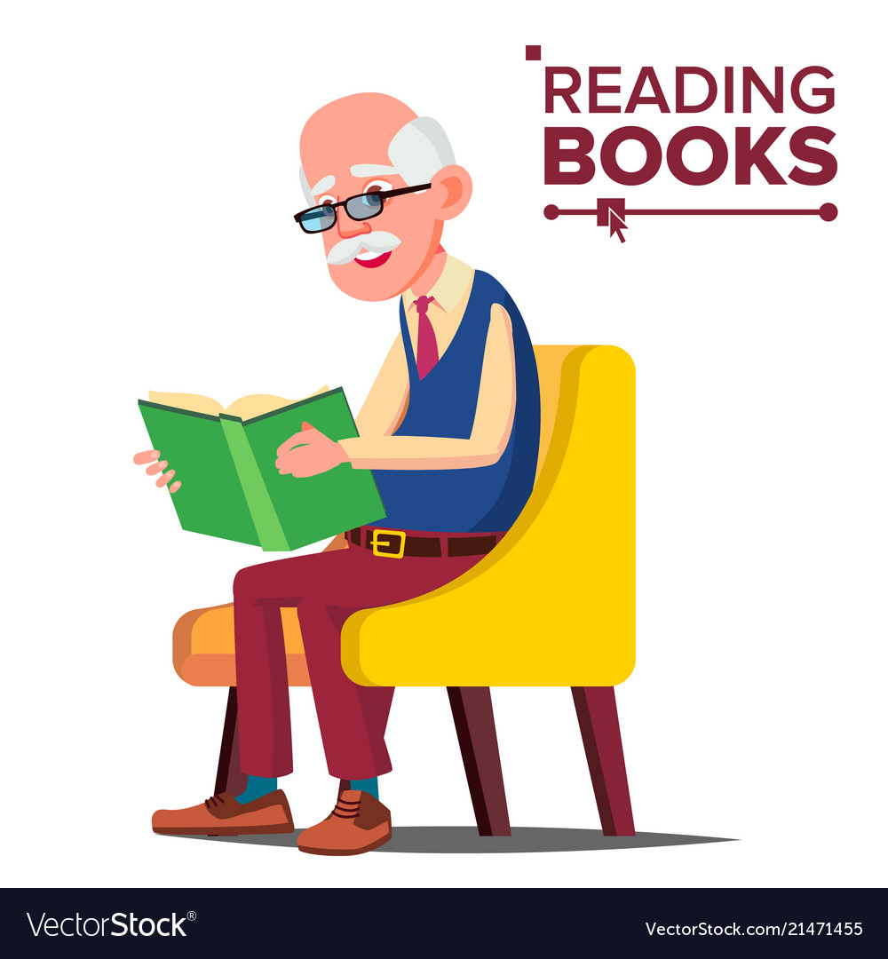 Old man reading book paper book sitting