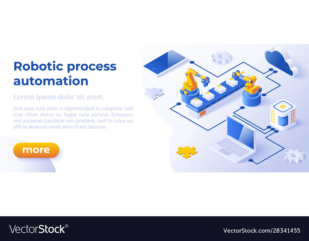 Rpa - isometric concept in trendy colors