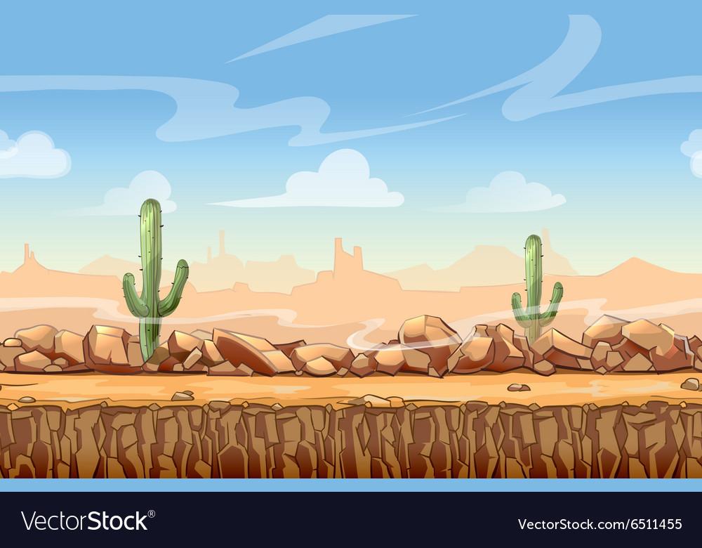 Wild West desert landscape cartoon seamless
