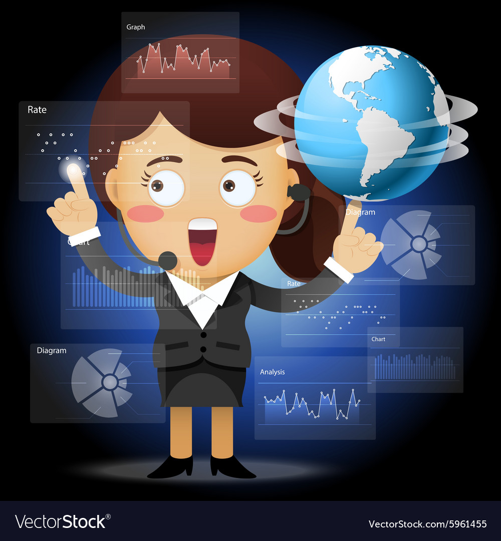 Woman spinning globe and working with data process vector image
