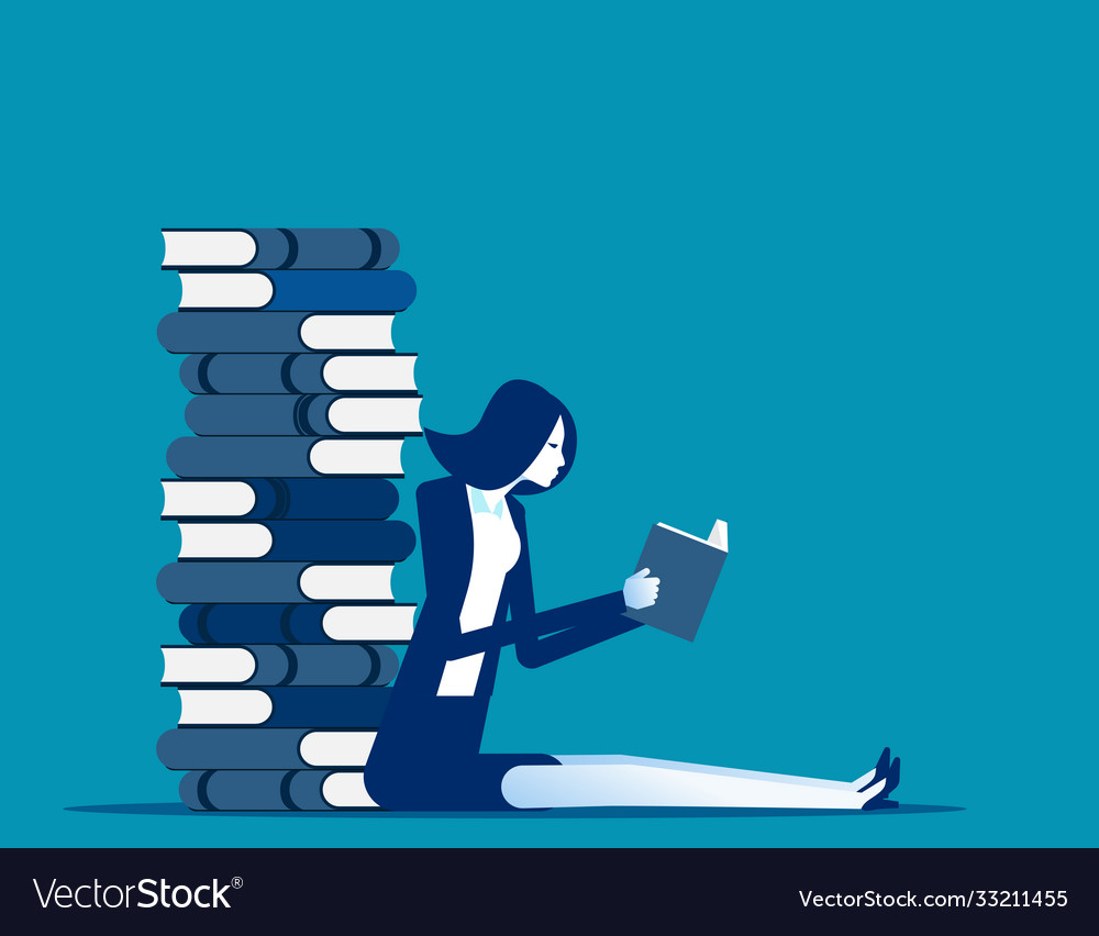 Young business with huge stack books business