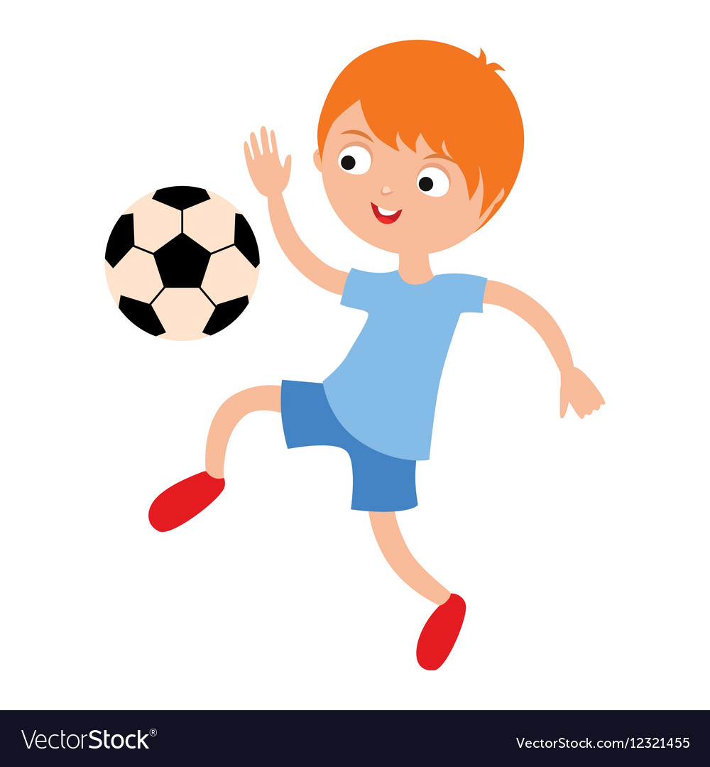 young child boy playing football royalty free vector image  vectorstock
