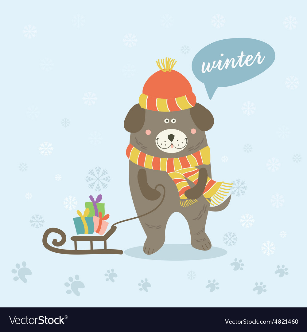 A winter scene with a cartoon dog vector image