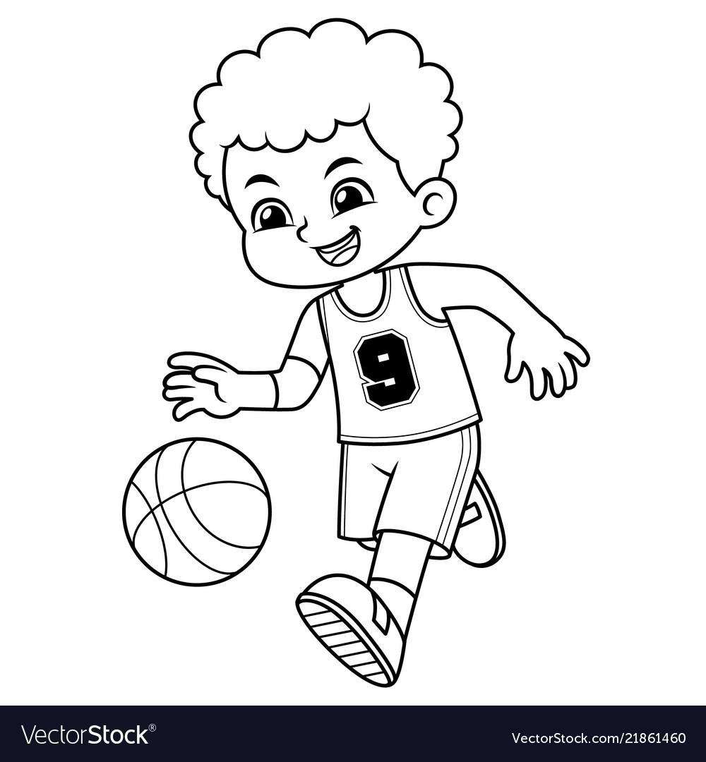 Basket ball boy performing dribble bw