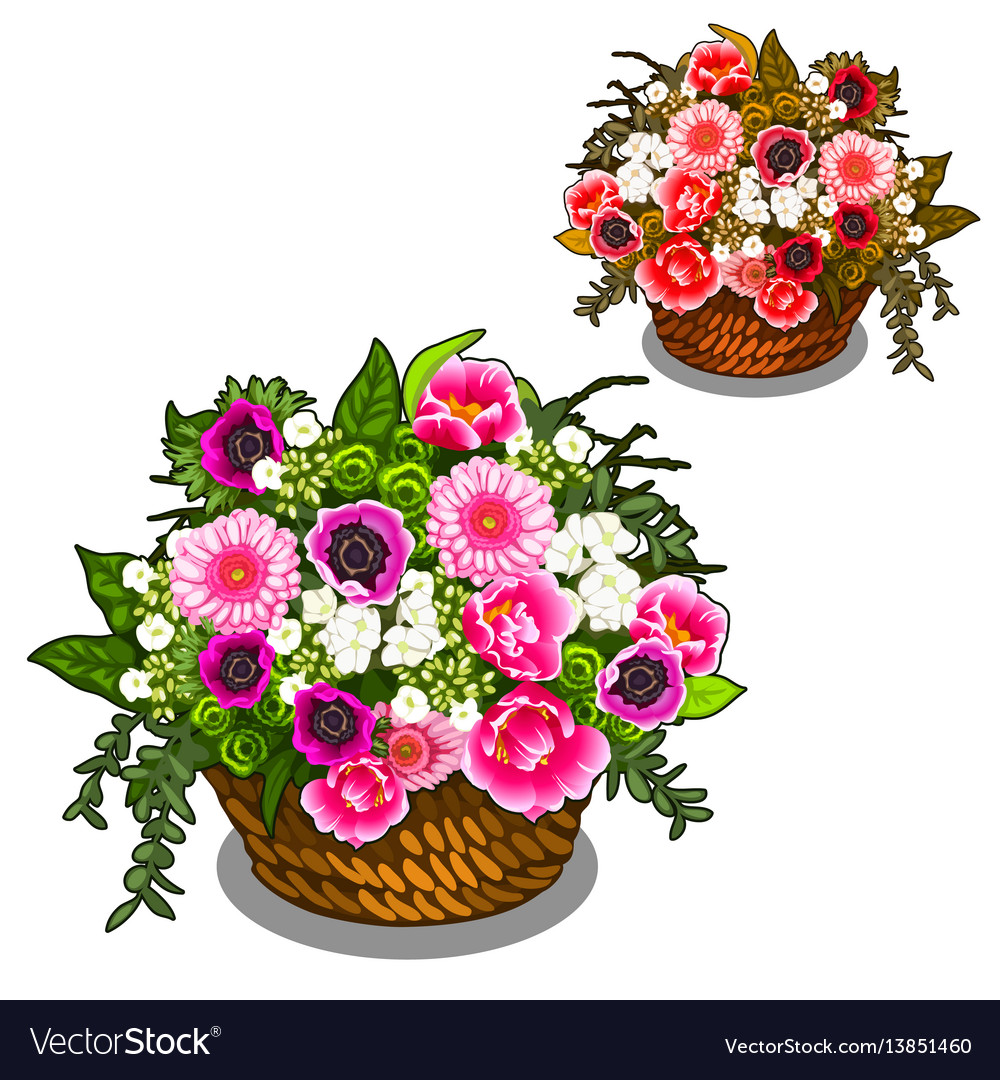 Beautiful basket pink and white flowers