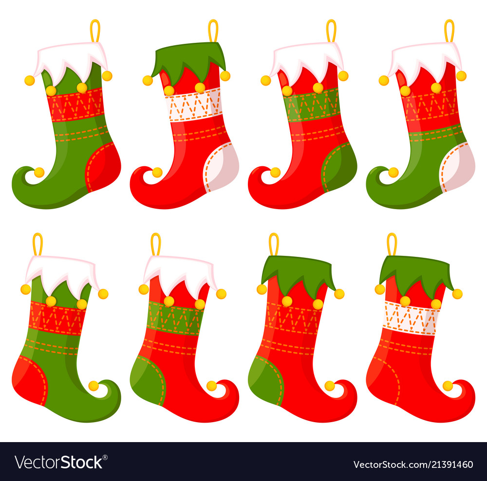 Christmas Stockings Cartoon.Colorful Cartoon Christmas Stocking Set