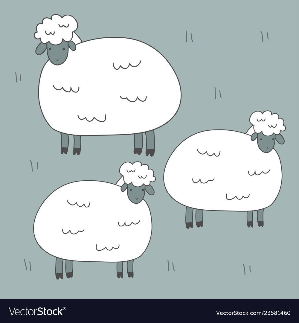 Cute Print With Sheep Royalty Free Vector Image