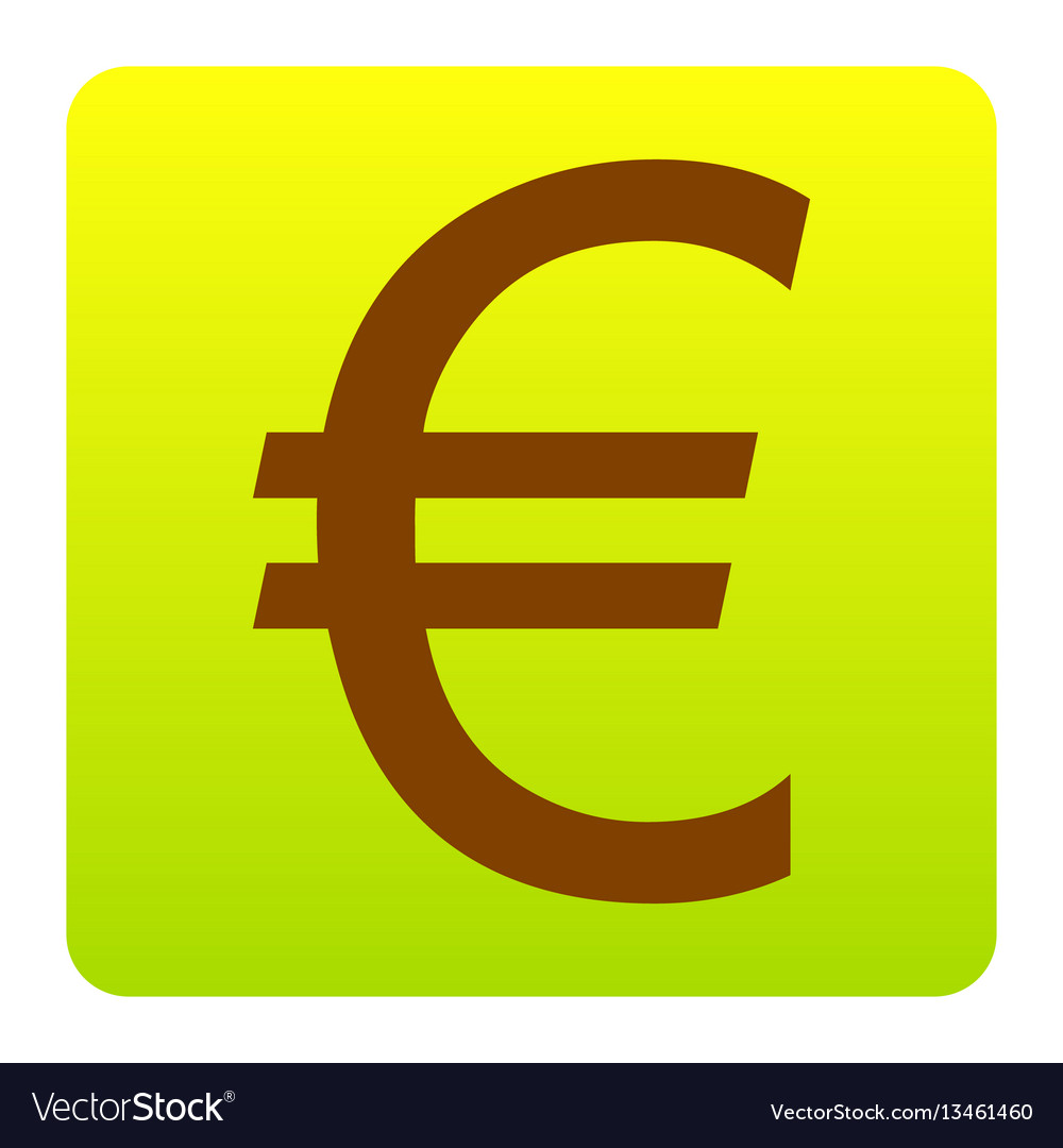 Euro sign brown icon at green-yellow