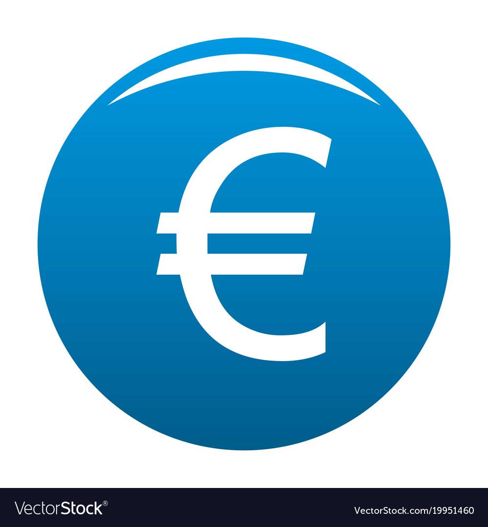 Euro Symbol Icon Blue Royalty Free Vector Image