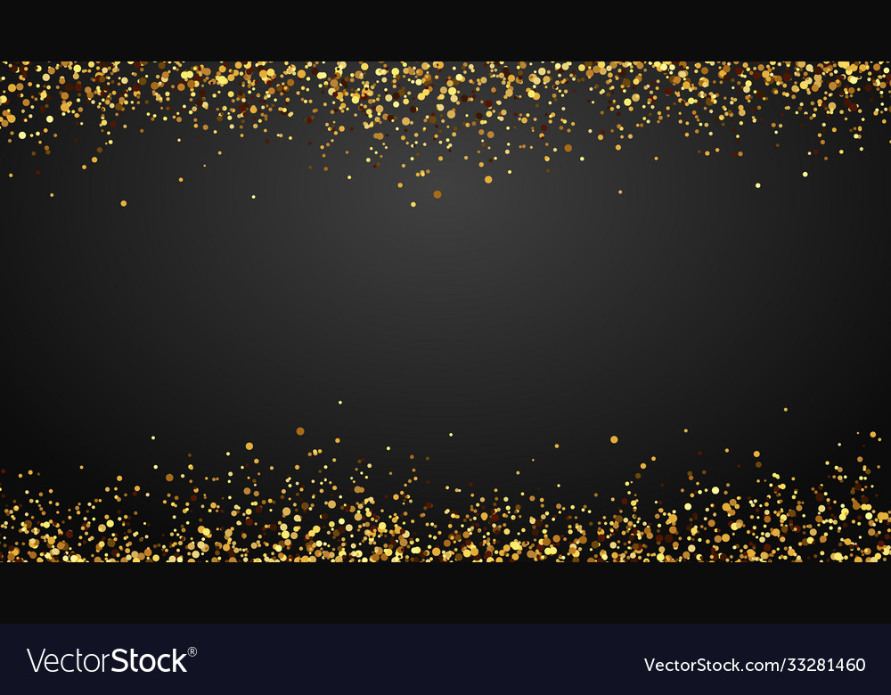 Golden confetti border background falling