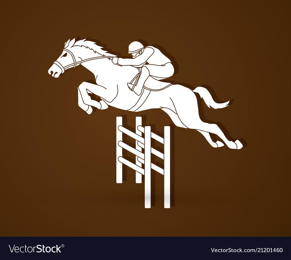 Horse racing jockey riding horse