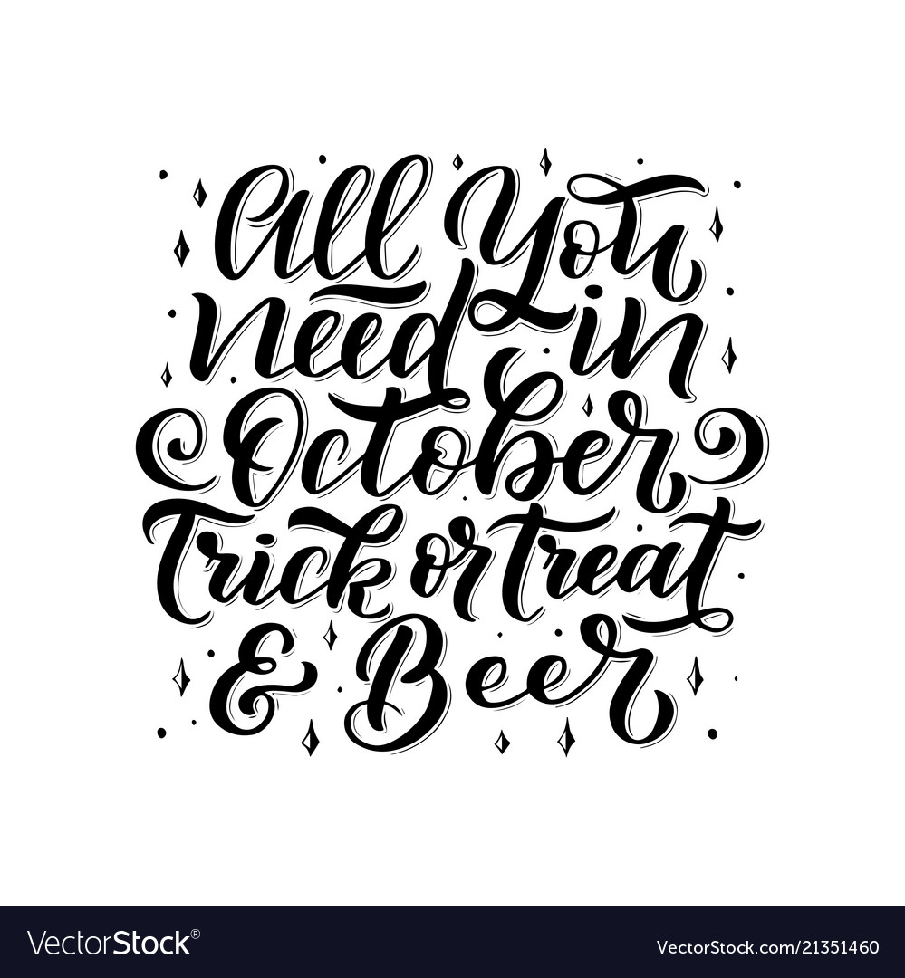 Lettering quote about october hand written