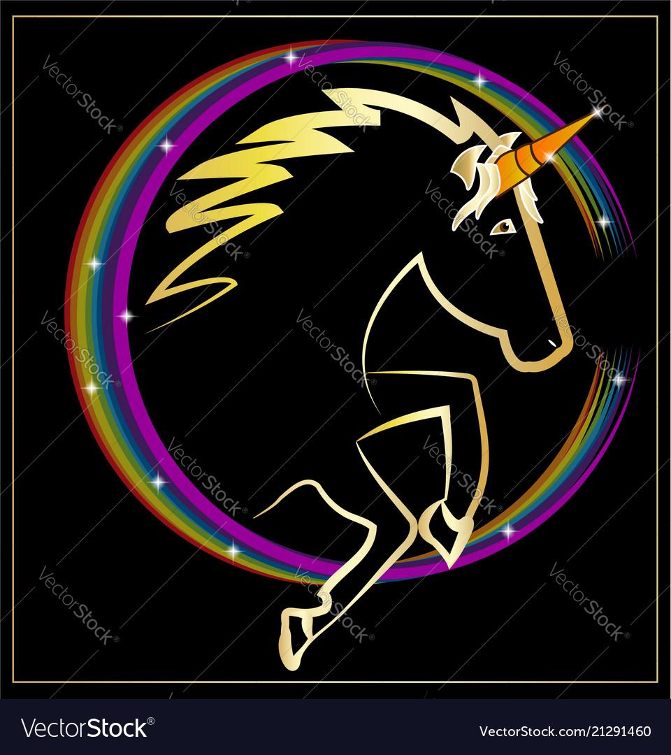 Magical rainbow unicorn icon