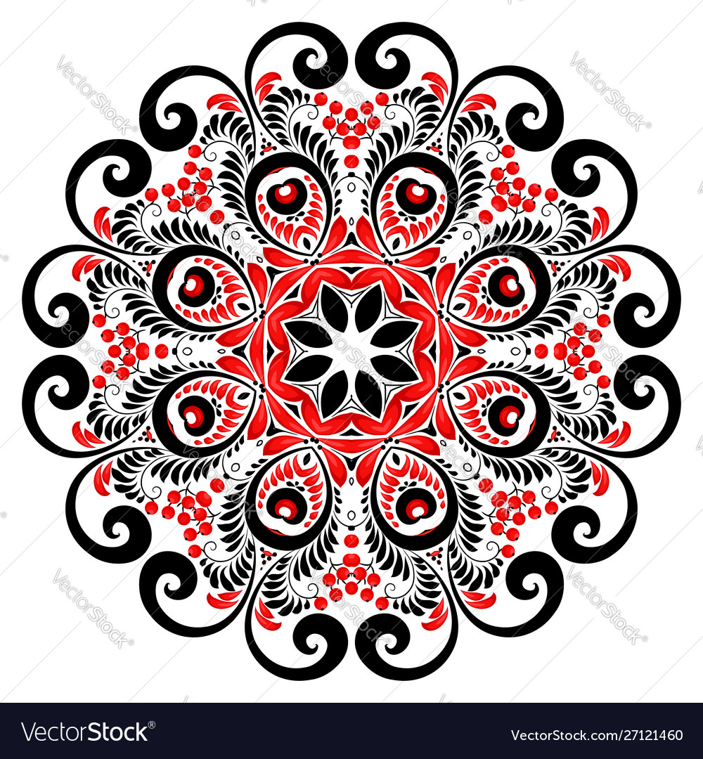 Red and black colors curly ornate mandala