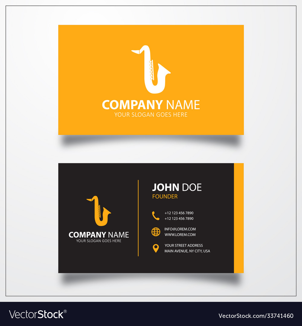 Saxophone icon business card template