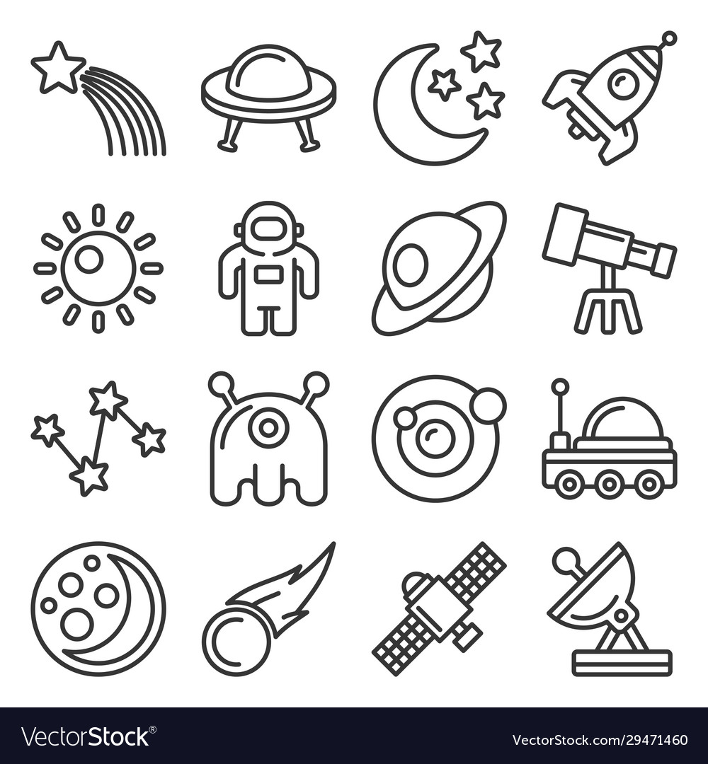 Space icon set on white background line style