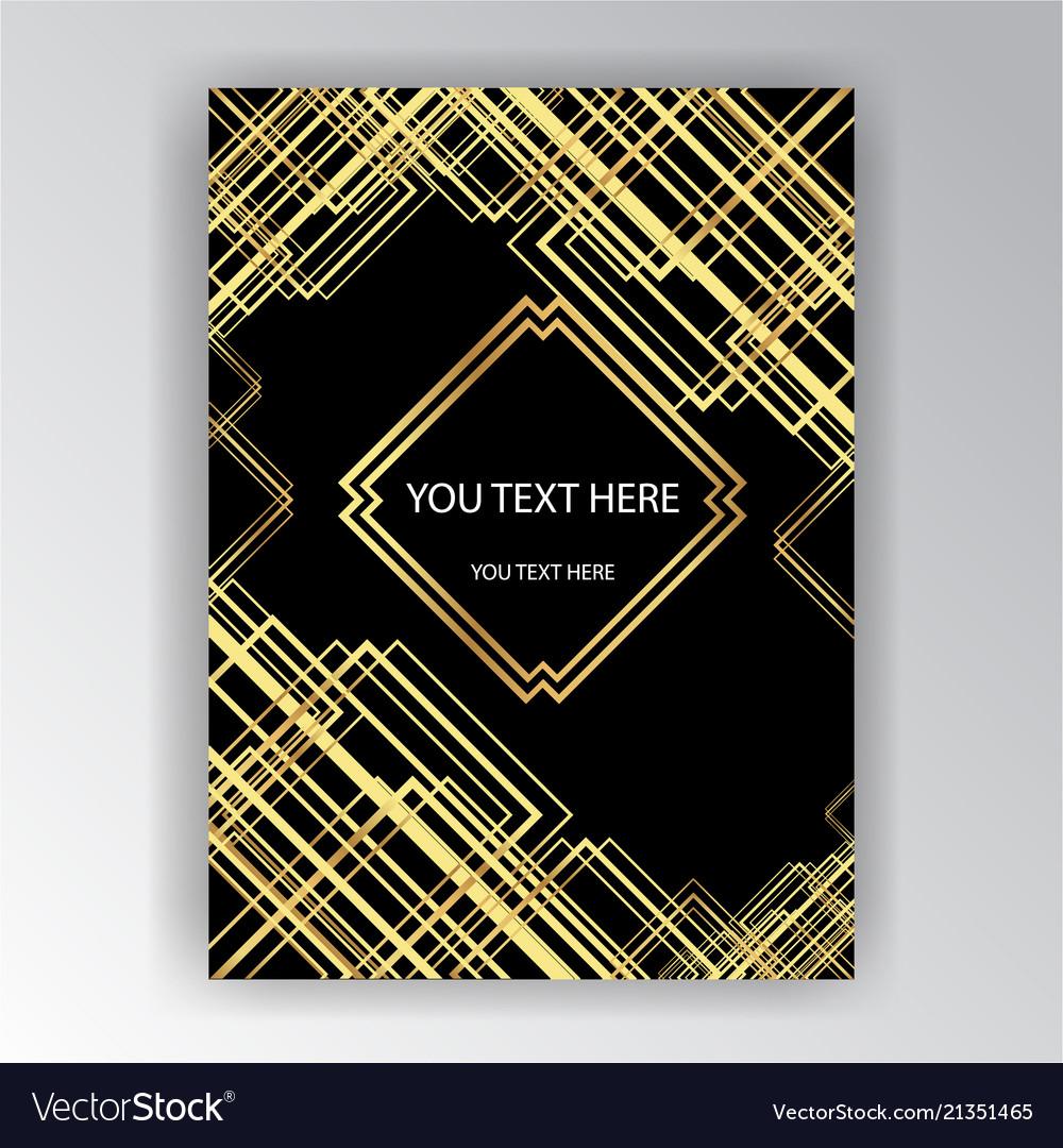 Art deco template golden-black a4 page menu