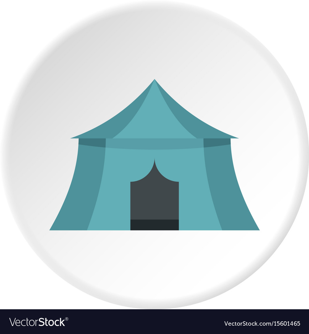 Blue yellow tourist tent for travel camping icon