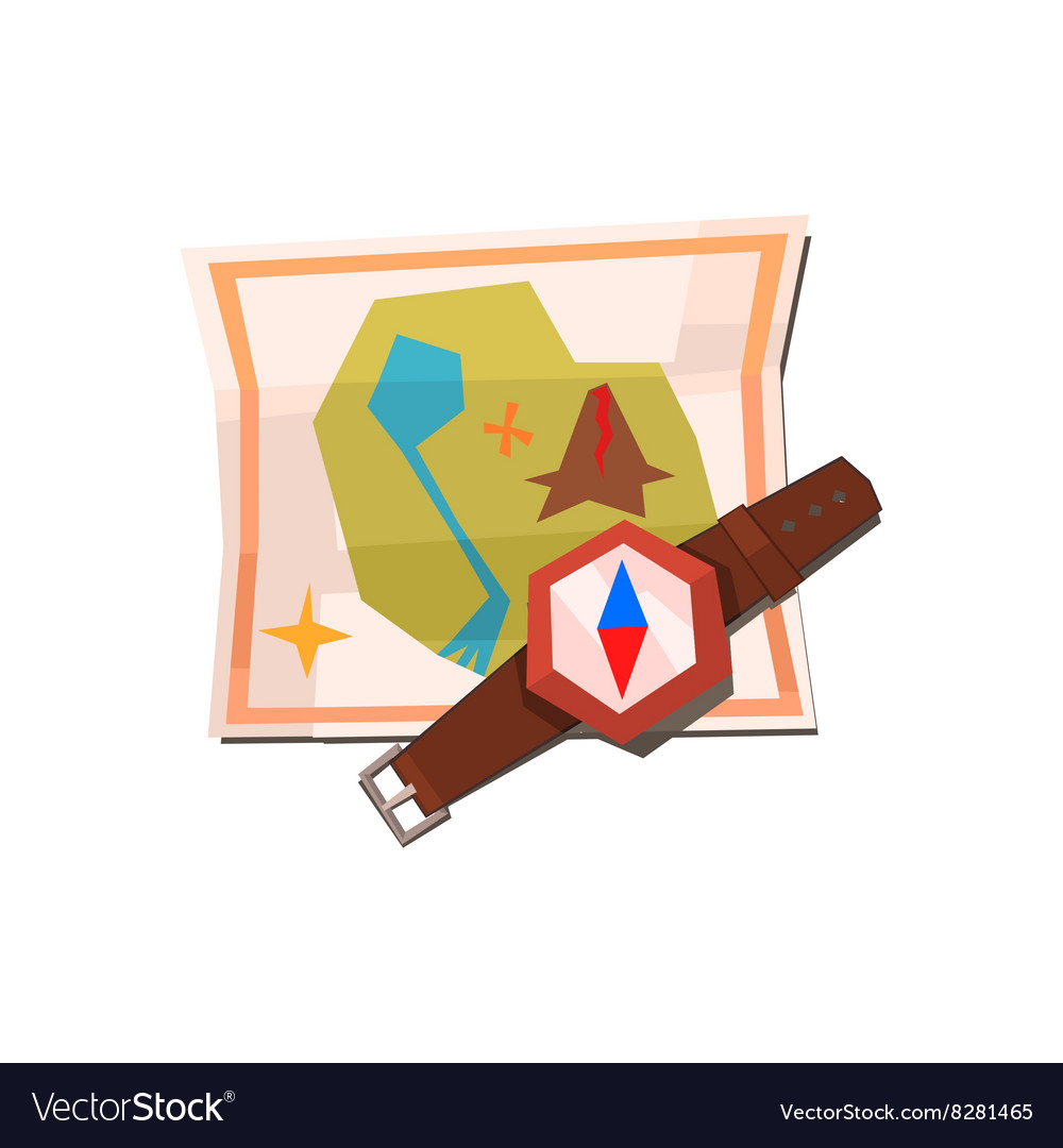 Camping Map And Compass vector image