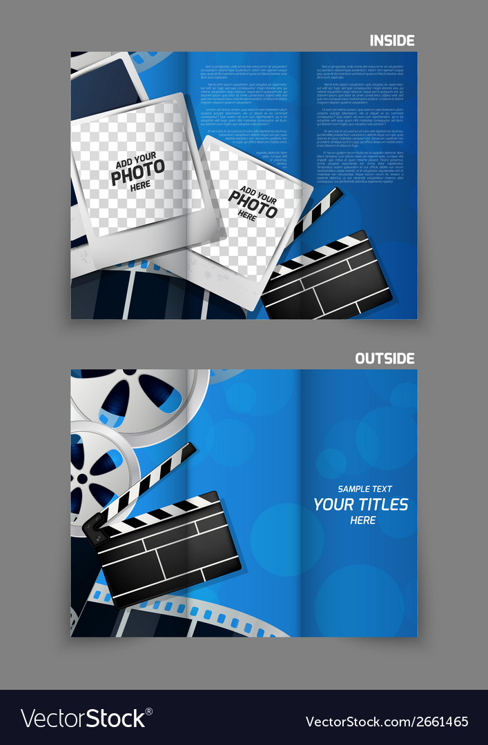 cinema tri fold brochure design vector image