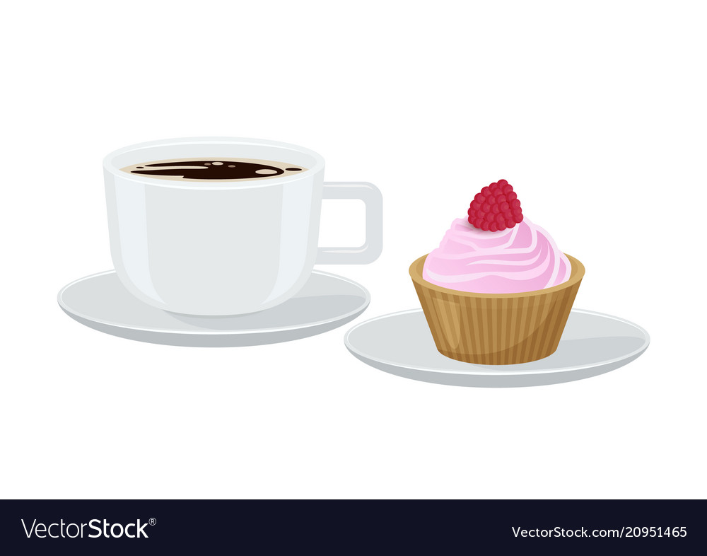 Coffee and cupcake with cream