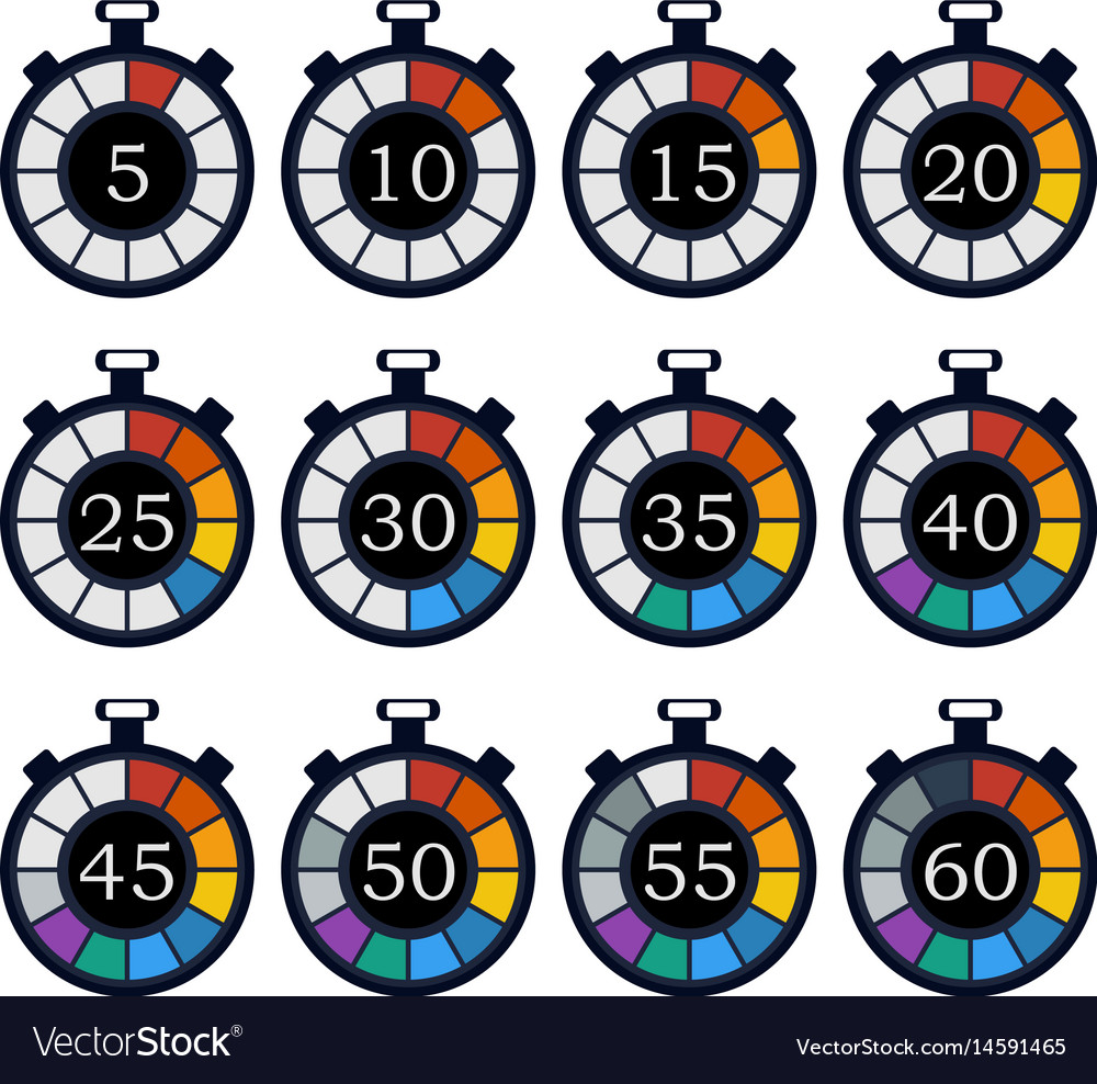 Colorful timer icon set vector image