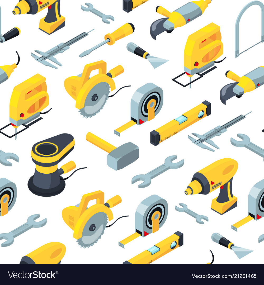 Construction tools isometric icons