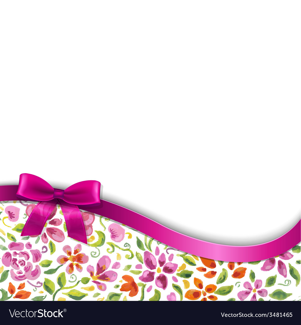Flowers Card With Pink Ribbon