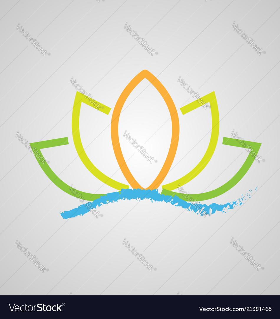 Lotus flower on water icon logo design