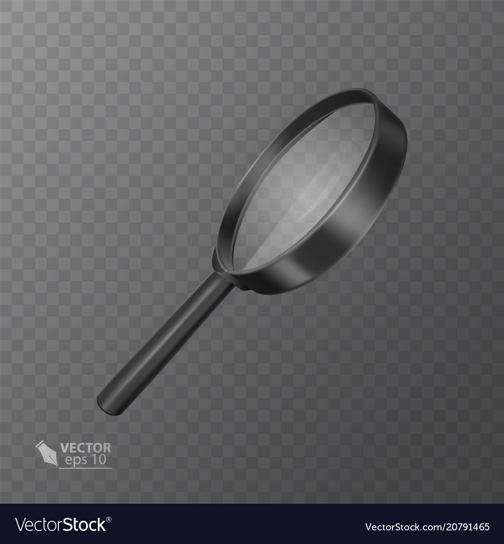 Realistic magnifying glass in black on transparent vector image