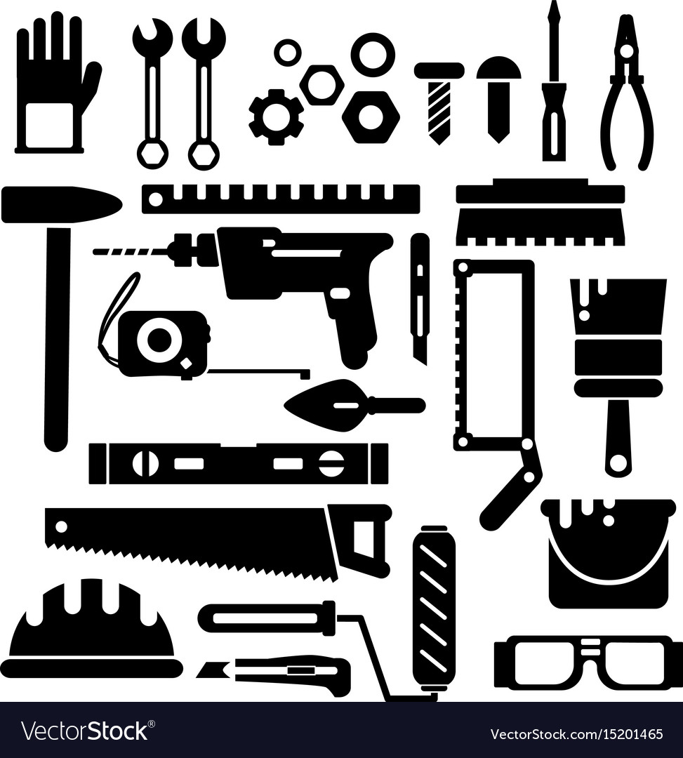 Silhouette of construction or repair tools