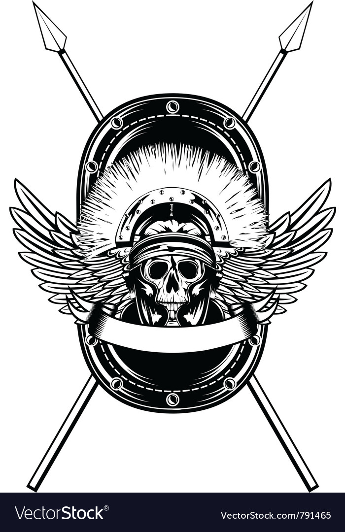 Skull in helmet crossed spears vector image