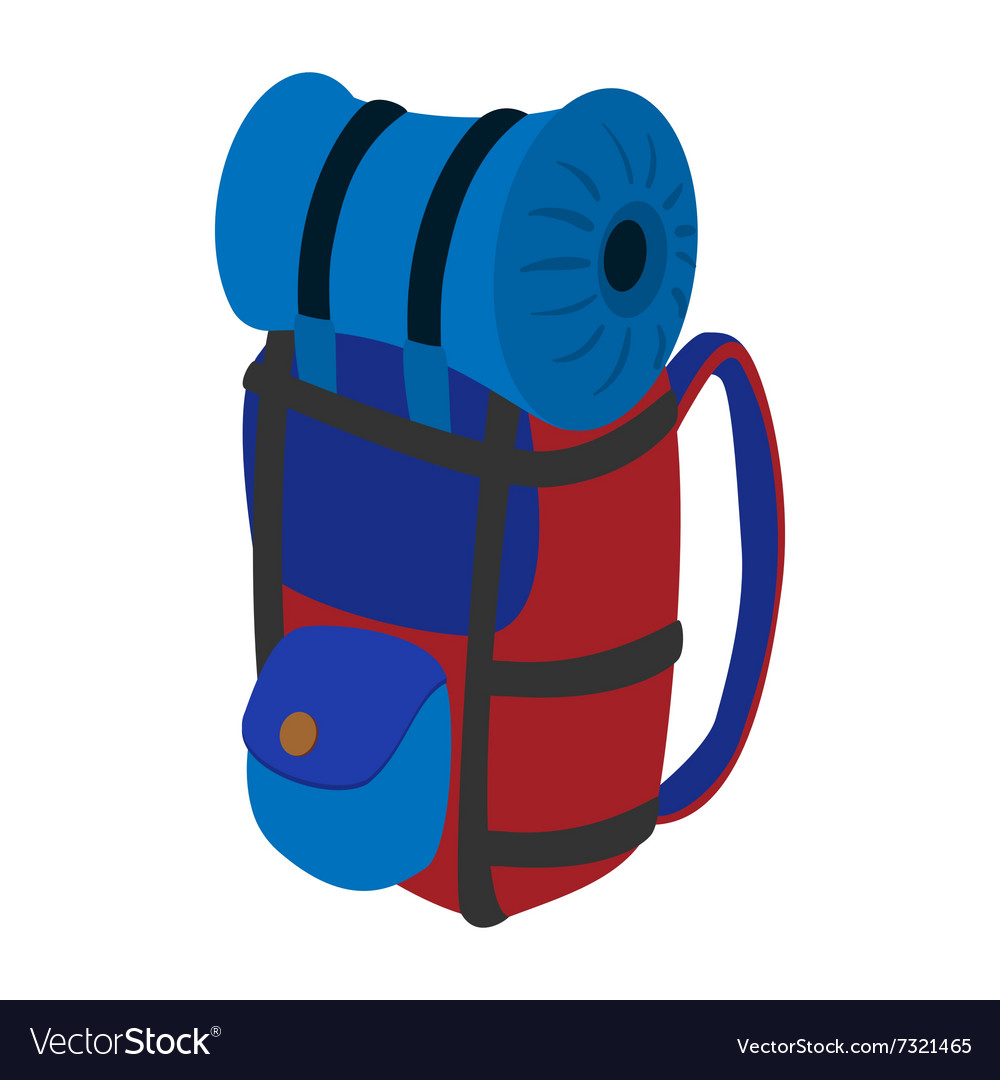 Travel backpack cartoon icon