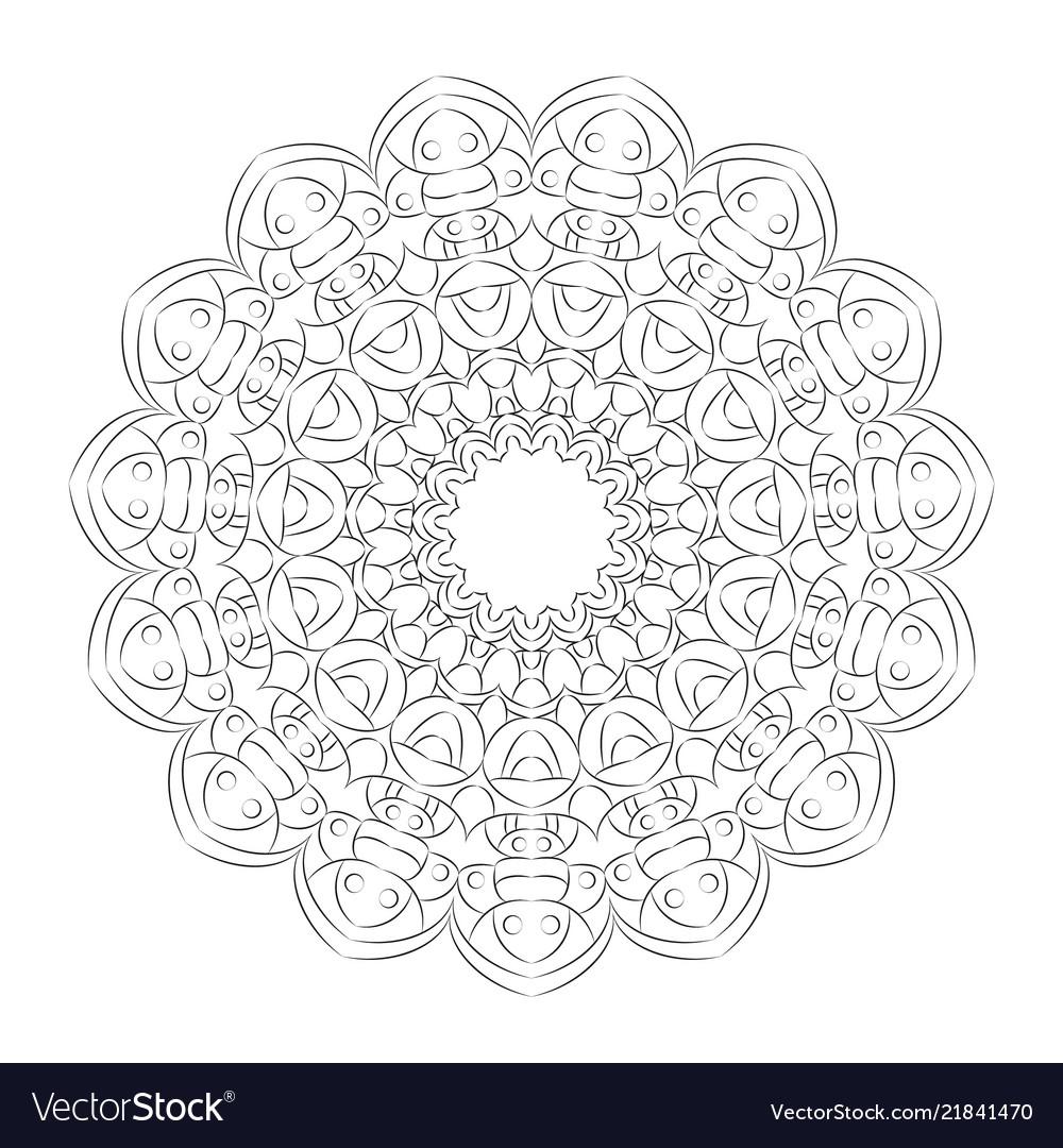 Black and white round simple mandala hand drawn