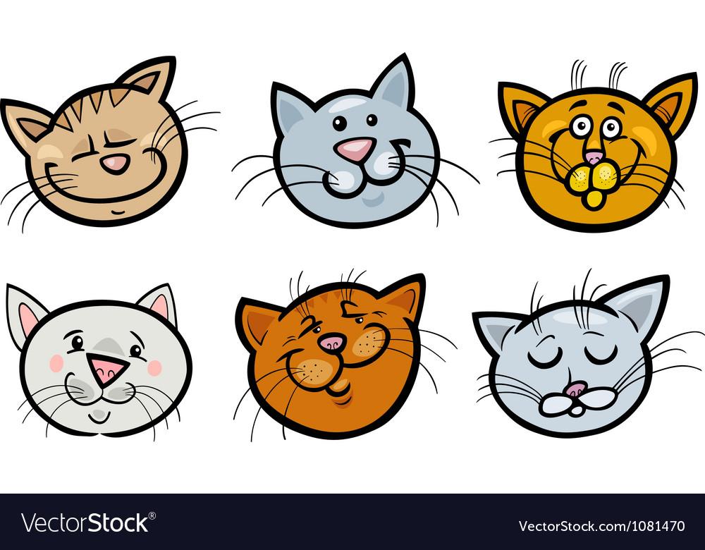 Cartoon Funny Cats Heads Set Royalty Free Vector Image