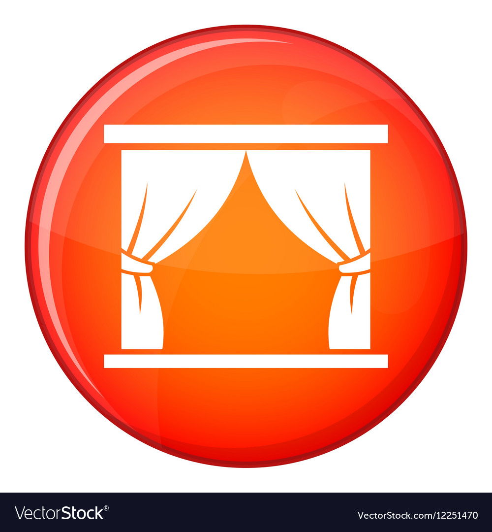 Curtain on stage icon flat style