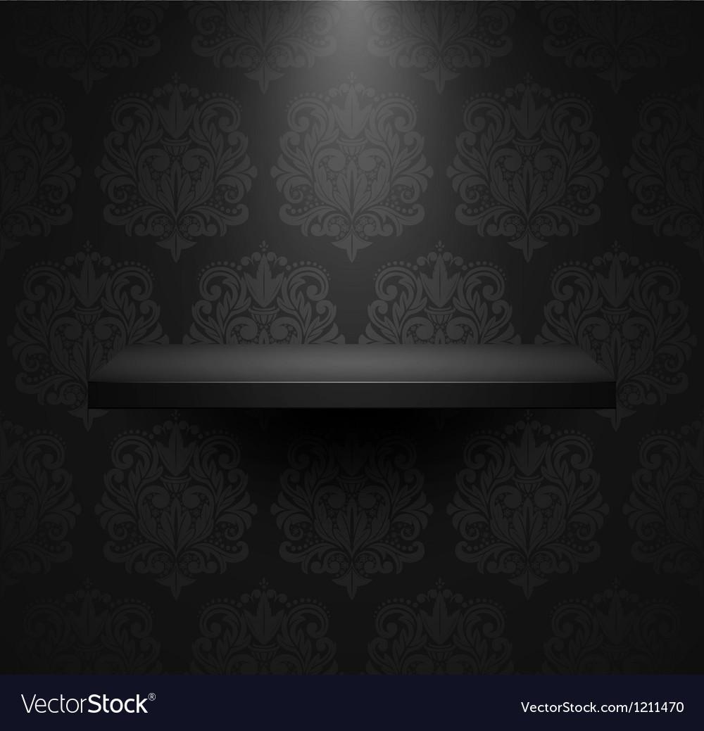 Dark empty isolated shelf