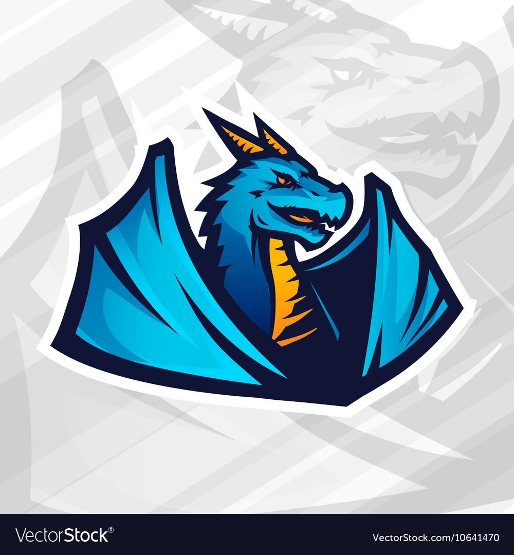 Dragon logo concept Football or baseball mascot vector image