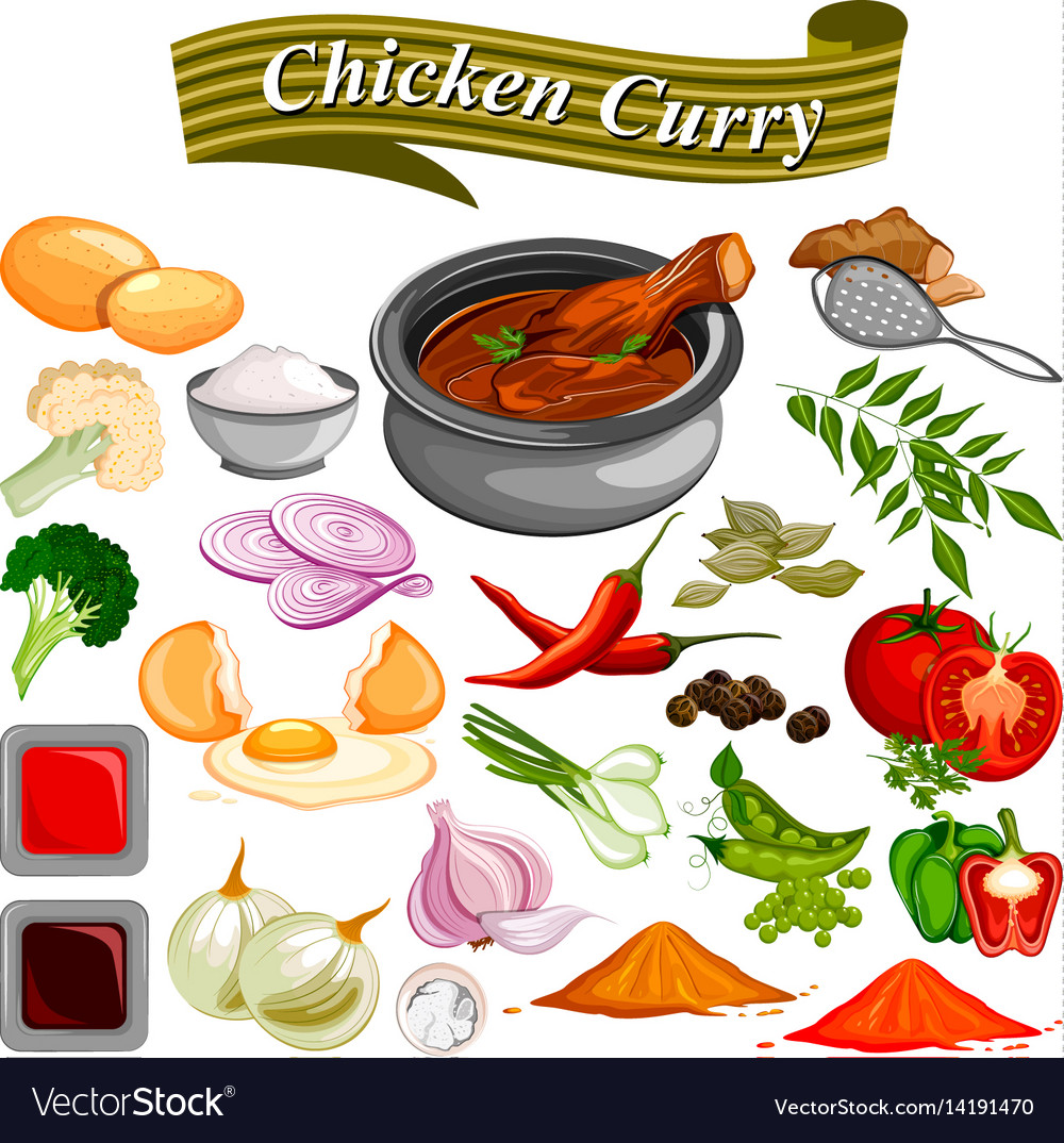 Ingredient for indian chicken curry recipe with