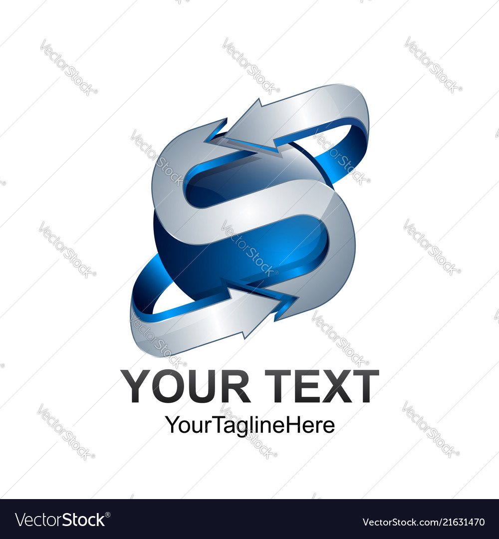 Letter s logo design template colored silver blue
