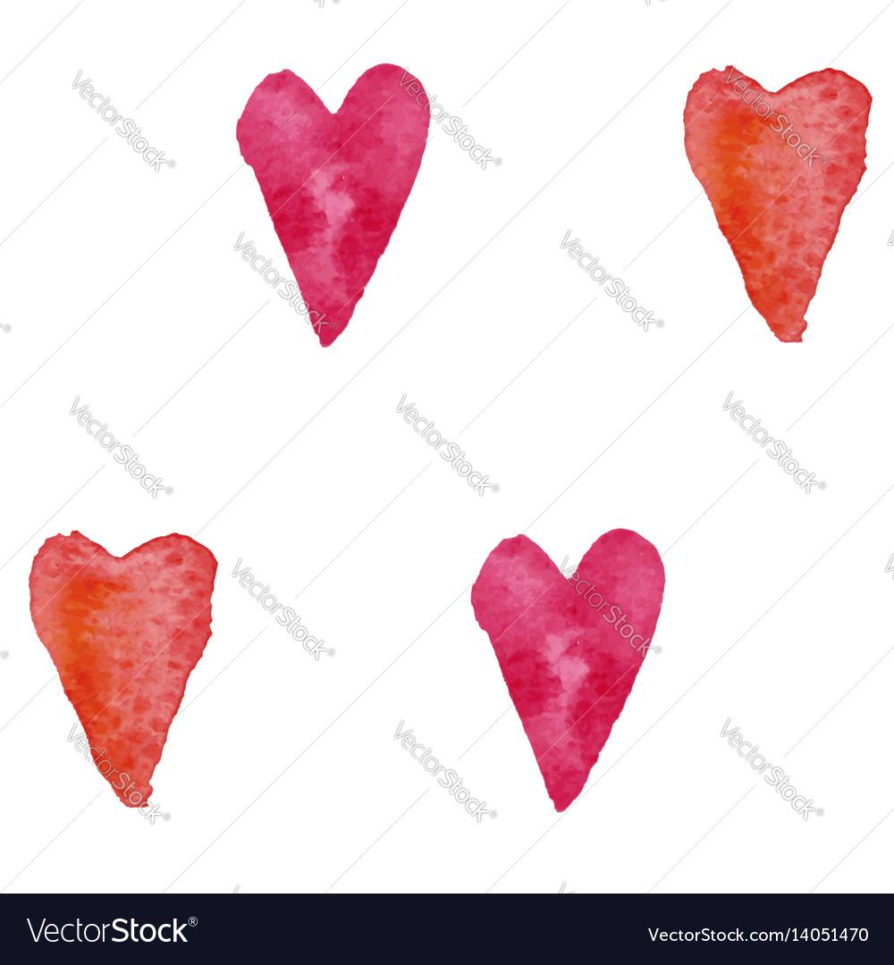 Pattern watercolor hearts
