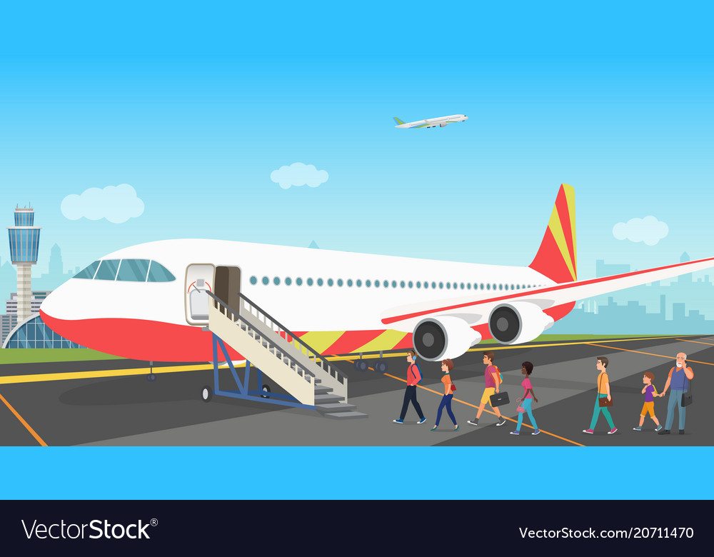 People tourists boarding on a cruise airplane at