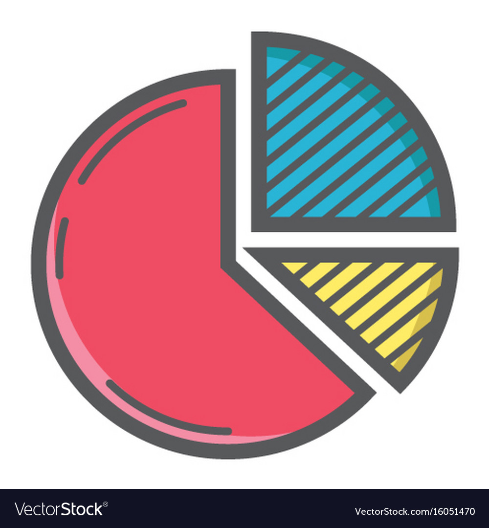 Pie chart colorful line icon business and diagram vector image