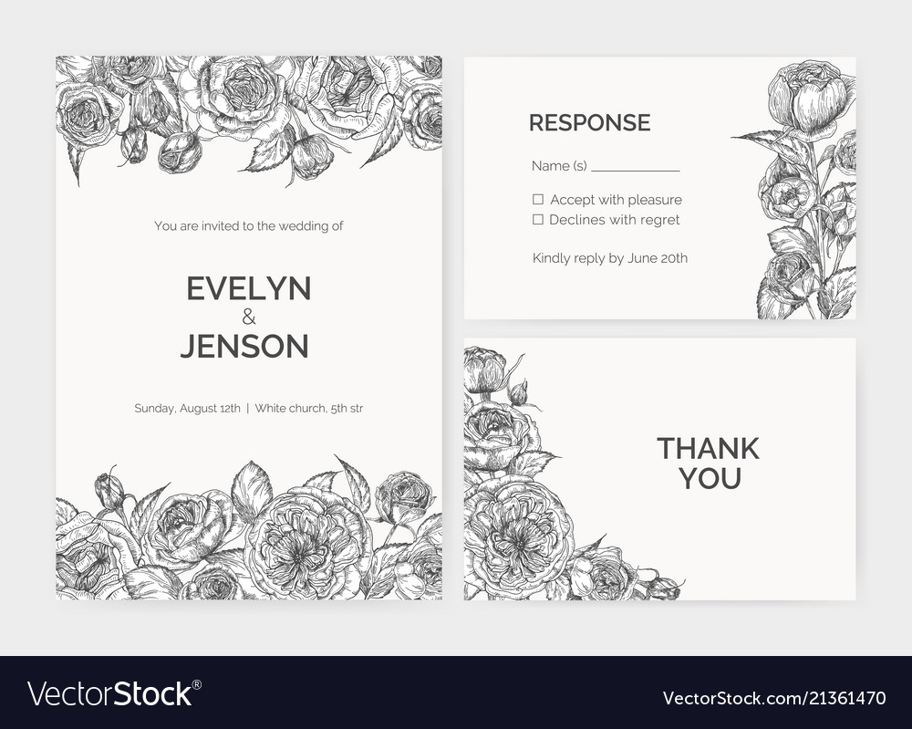 Set of elegant wedding invitation response card