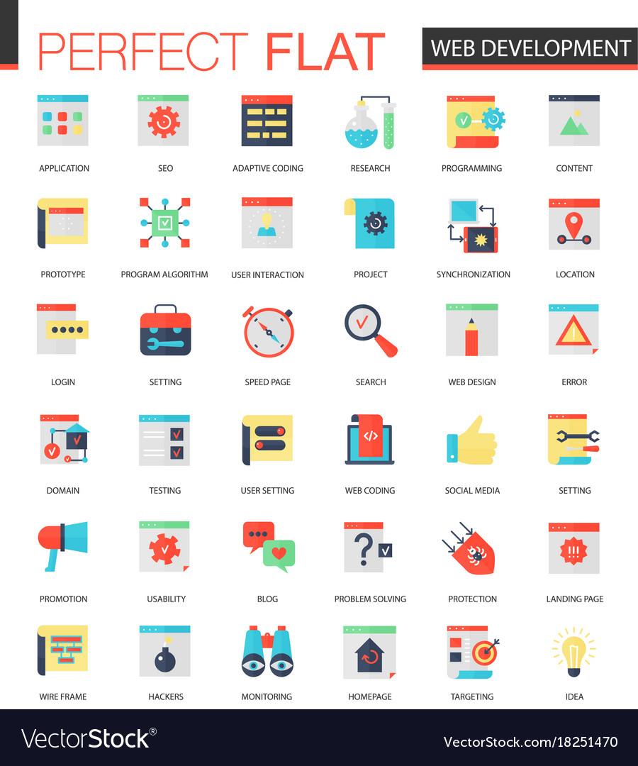 Set of flat web development icons